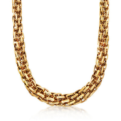 C. 1980 Vintage Bulgari Tapered Link Necklace in 18kt Yellow Gold, , default