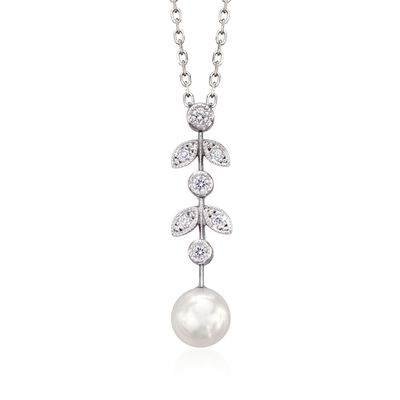 Mikimoto 6.5mm A+ Akoya Pearl Drop Pendant Necklace with Diamond Accents in 18kt White Gold, , default