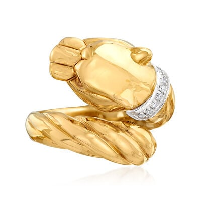 "Phillip Gavriel ""Italian Cable"" Panther Ring with Diamond Accents in 14kt Yellow Gold, , default"