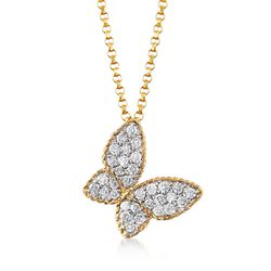 Roberto Coin .25 ct. t.w. Diamond Butterfly Necklace in 18kt Yellow Gold, , default