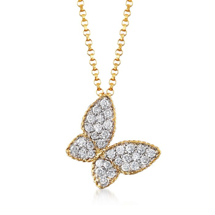 """Roberto Coin .25 Carat Total Weight Diamond Butterfly Necklace in 18-Karat Yellow Gold. 18"""", , default"""