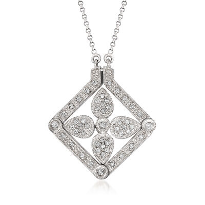 C. 1990 Vintage .45 ct. t.w. Diamond Floral Convertible Necklace in 14kt White Gold