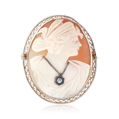 C. 1950 Vintage Pink Shell Cameo Pin with Diamond Accent, , default
