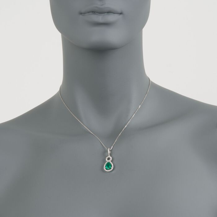 """1.85 Carat Total Weight Emerald and .40 Carat Total Weight Diamond Necklace in 14-Karat White Gold. 16"""", , default"""