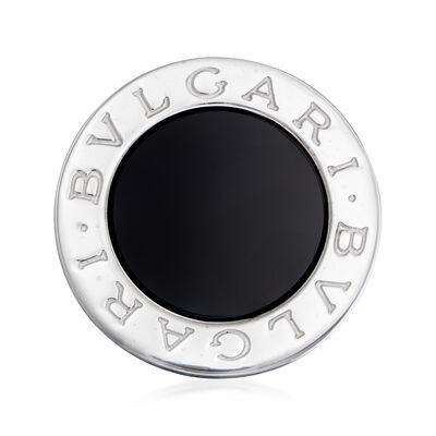 C. 1990 Vintage Bulgari Black Onyx Ring in 18kt White Gold