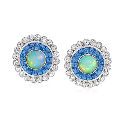 C. 2000 Vintage Opal Circle Earrings with 1.33 ct. t.w. Sapphires and .64 ct. t.w. Diamonds in 18kt White Gold