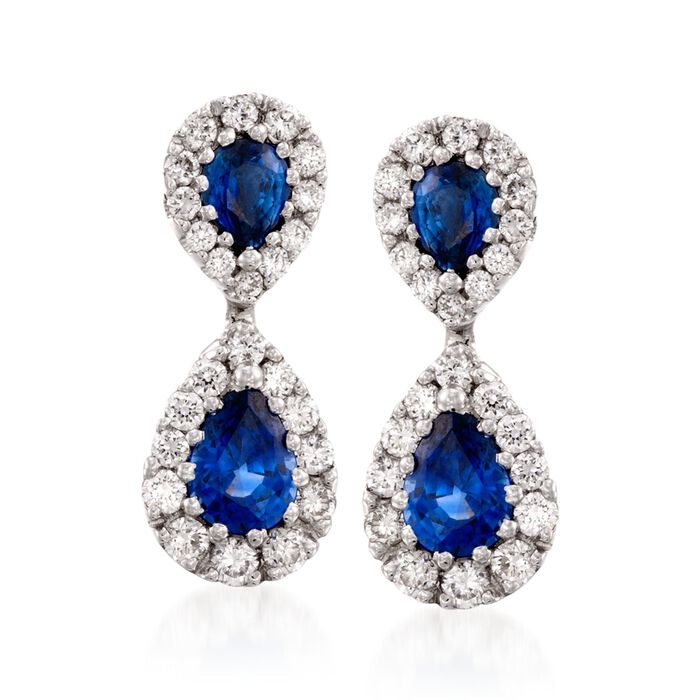 Gregg Ruth 1.76 Carat Total Weight Sapphire and .80 Carat Total Weight Diamond Drops in 18-Karat White Gold, , default