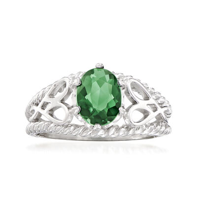 C. 1970 Vintage 1.05 Carat Synthetic Green Spinel Ring in 14kt White Gold