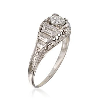 C. 1950 Vintage .35 Carat Diamond Floral Solitaire Ring in 18kt White Gold. Size 4.5