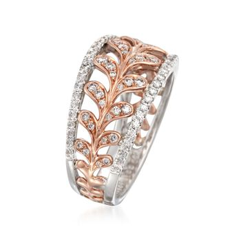 Simon G. .65 ct. t.w. Diamond Leaf Ring in 18kt Two-Tone Gold, , default