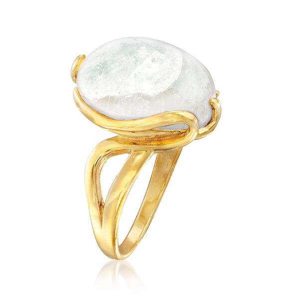 Moonstone Twisted Ring in 18kt Gold Over Sterling #864391
