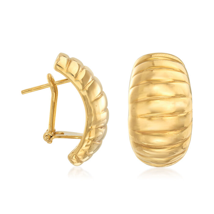 Italian 18-Karat Yellow Gold Ribbed Earrings, , default