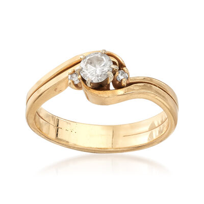 C. 1990 Vintage .55 ct. t.w. Diamond Wavy Ring in 14kt Yellow Gold, , default