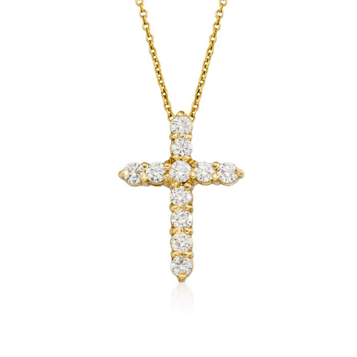 Roberto Coin .45 Carat Total Weight Diamond Cross Necklace in 18-Karat Yellow Gold, , default