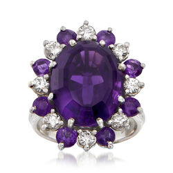 C. 1960 Vintage 8.50 ct. t.w. Amethyst and .65 ct. t.w. Diamond Ring in 14kt White Gold, , default