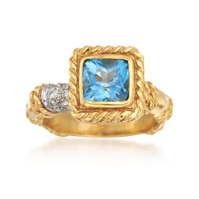 C. 1990 Vintage Cassis 1.50 Carat Blue Topaz and .15 ct. t.w. Diamond Ring in 18kt Yellow Gold, , default