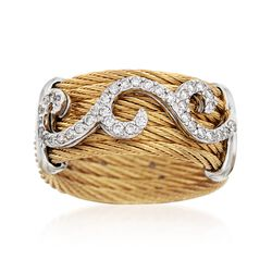 "ALOR ""Classique"" .32 ct. t.w. Diamond Yellow Cable Ring With 18kt White Gold, , default"