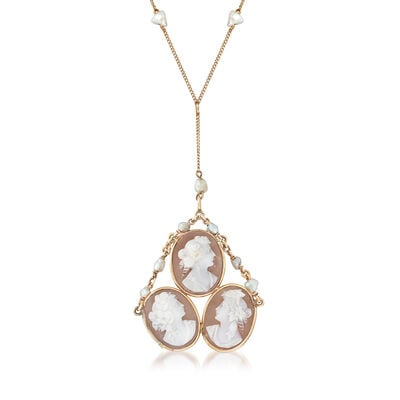 C. 1940 Vintage 4x5mm Cultured Pearl and Pink Shell Triple-Cameo Station Drop Necklace in 10kt Yellow Gold, , default