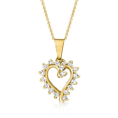 C. 1990 Vintage .50 ct. t.w. Diamond Heart Pendant Necklace in 14kt Yellow Gold