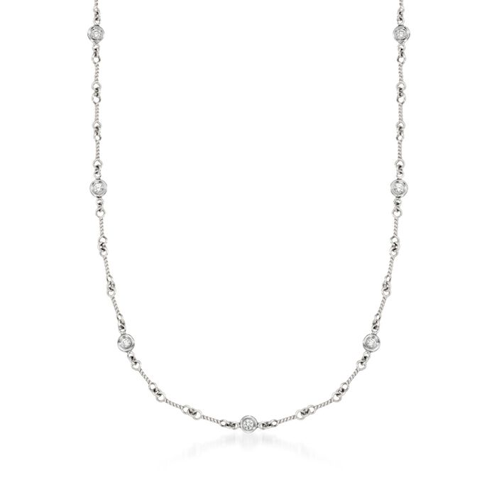 "Roberto Coin .28 Carat Total Weight Diamond Link Necklace in 18-Karat White Gold. 16"", , default"