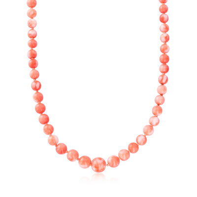 C. 1970 Vintage Pink Coral Bead Graduated Necklace with 18kt Yellow Gold