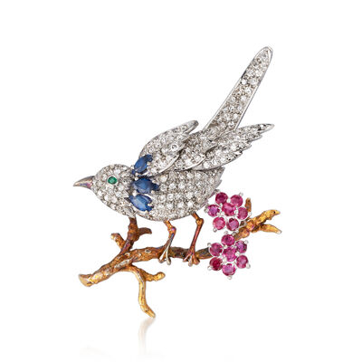 C. 1970 Vintage 1.30 ct. t.w. Diamond and 2.02 ct. t.w. Multi-Stone Bird on Branch Pin in Sterling Silver and 10kt Yellow Gold, , default