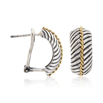 """Phillip Gavriel """"Italian Cable"""" Sterling Silver and 18kt Gold Half Hoop Earrings. 1/2"""""""