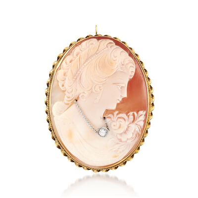 C. 1970 Vintage Pink Shell Cameo Pin Pendant with .10 Carat Diamond in 14kt Yellow Gold, , default