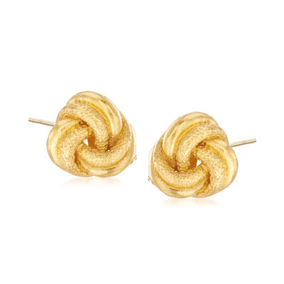 C. 1980 Vintage 22kt Yellow Gold Love Knot Earrings, , default