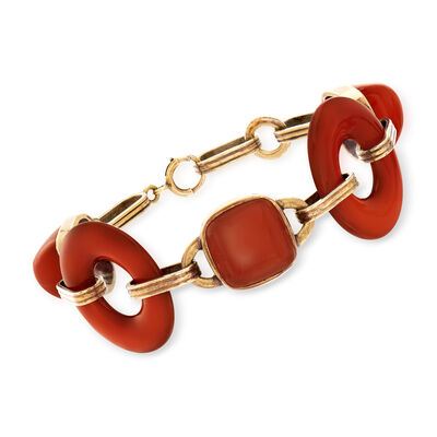 C. 1935 Vintage Carnelian Link Bracelet with 14kt Yellow Gold