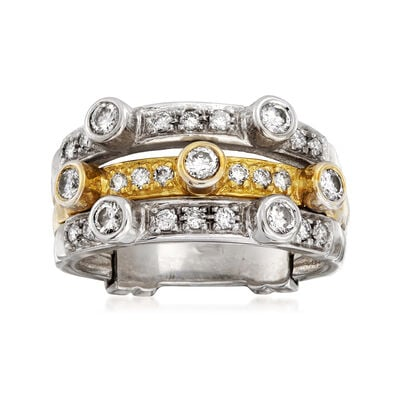 C. 1980 Vintage .75 ct. t.w. Diamond Three-Row Ring in 18kt Two-Tone Gold