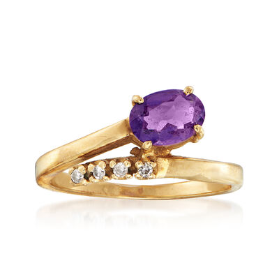 C. 1980 Vintage .65 Carat Amethyst Bypass Ring with Diamond Accents in 10kt Yellow Gold, , default