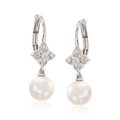 Gabriel Designs 7-7.25mm Cultured Pearl Drop Earrings in 14kt White Gold