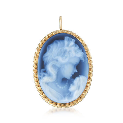 C. 1980 Vintage Blue Agate Cameo Pin Pendant in 14kt Yellow Gold, , default