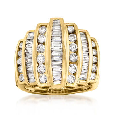 C. 1980 Vintage 2.20 ct. t.w. Diamond Fashion Ring in 14kt Yellow Gold