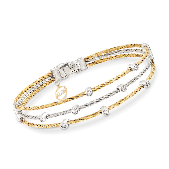 "ALOR ""Classique"" .18 ct. t.w. Diamond Two-Tone Sterling Silver Cable Bracelet with 18kt Two-Tone Gold. 7"", , default"