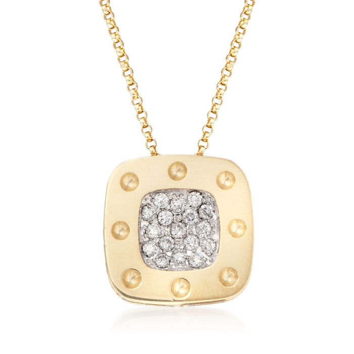 """Roberto Coin Pois Moi .25 Carat Total Weight Diamond Necklace in 18-Karat Two-Tone Gold. 16"""", , default"""