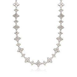 "Roberto Coin ""Princess Flower"" 6.65 ct. t.w. Diamond Flower Necklace in 18kt White Gold, , default"
