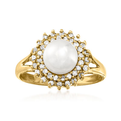 C. 2000 Vintage 7mm Cultured Pearl Ring with .35 ct. t.w. Diamonds in 14kt Yellow Gold