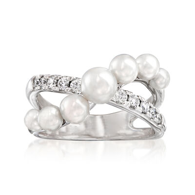 "Mikimoto ""Japan"" 3.25-5.35mm A+ Akoya Pearl and .22 ct. t.w. Diamond Crisscross Ring in 18kt White Gold, , default"