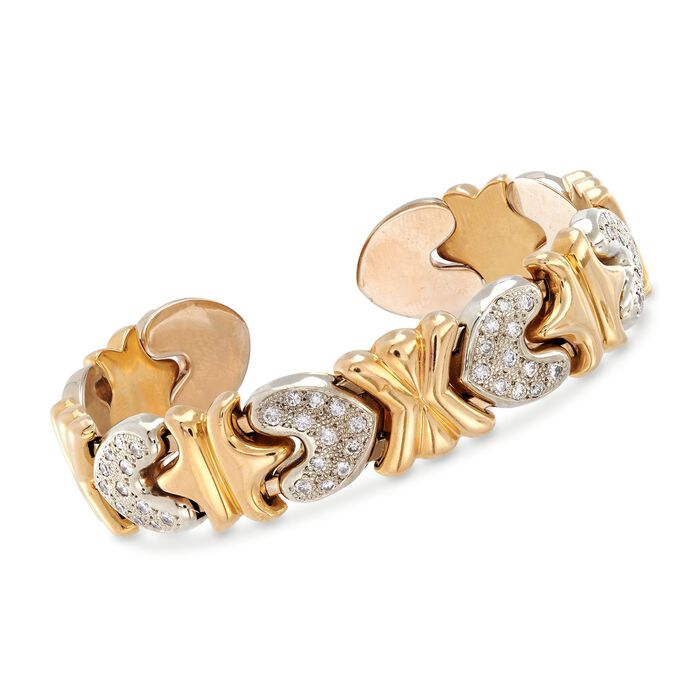 "C. 1990 Vintage 1.00 ct. t.w. Pave Diamond Heart Cuff Bracelet in 14kt Two-Tone Gold. 6.5"", , default"