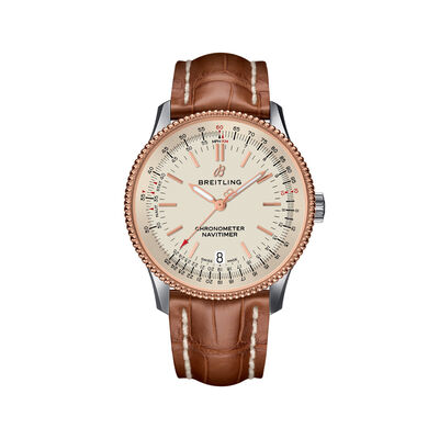 Breitling Navitimer 1 Men's 38mm Stainless Steel and 18kt Rose Gold Watch - Brown Leather Strap, , default