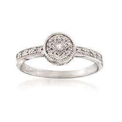 """ALOR """"Flamme Blanche"""" .15 ct. t.w. Diamond Circle Ring in 18kt White Gold, , default"""