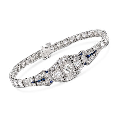 C. 2000 Vintage 3.65 ct. t.w. Diamond Bracelet With Synthetic Sapphire Accents in Platinum, , default