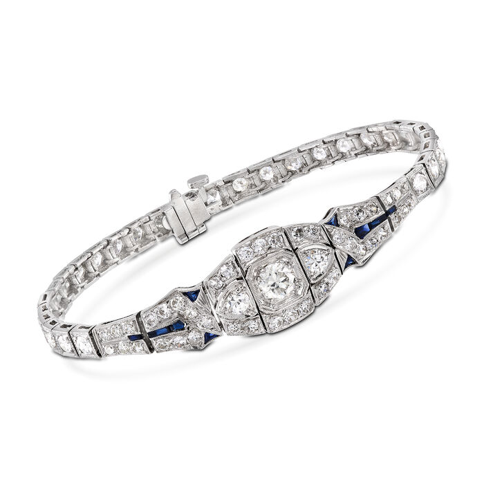 "C. 2000 Vintage 3.65 ct. t.w. Diamond Bracelet With Synthetic Sapphire Accents in Platinum. 6.5"", , default"