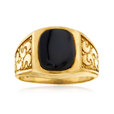 C. 1970 Vintage Men's Black Onyx Ring in 14kt Yellow Gold, , default