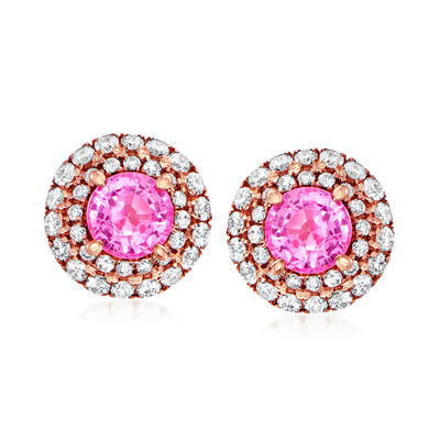 C. 1980 Vintage .80 ct. t.w. Pink Sapphire and .47 ct. t.w. Diamond Earrings in 18kt Rose Gold