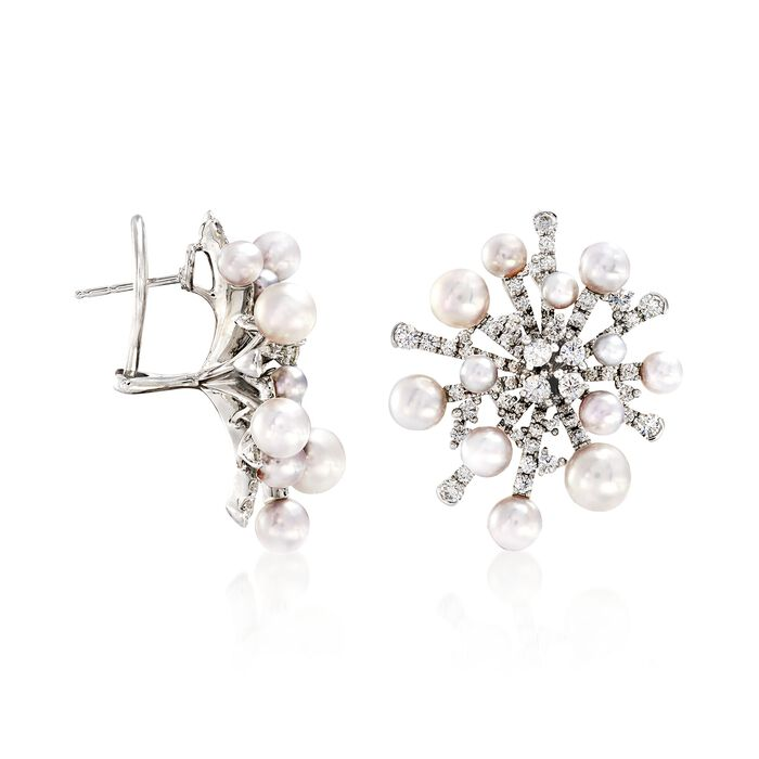 """Mikimoto """"Splash"""" 3-6.5mm A+ Akoya Pearl and 2.44 ct. t.w. Diamond Earrings in 18kt White Gold"""