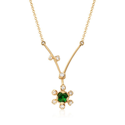 Simon G. .20 Carat Tsavorite and .11 ct. t.w. Diamond Floral Necklace in 18kt Yellow Gold