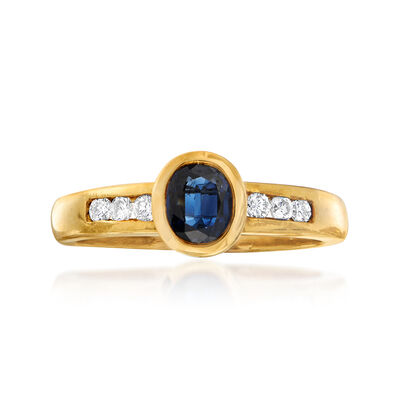 C. 1980 Vintage .60 Carat Sapphire and .15 ct. t.w. Diamond Ring in 18kt Yellow Gold, , default